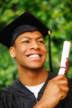 Image of a young African-American Student with Diploma