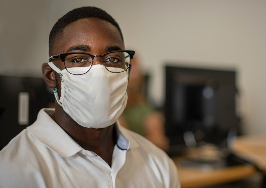 Male Student wearing Face Mask