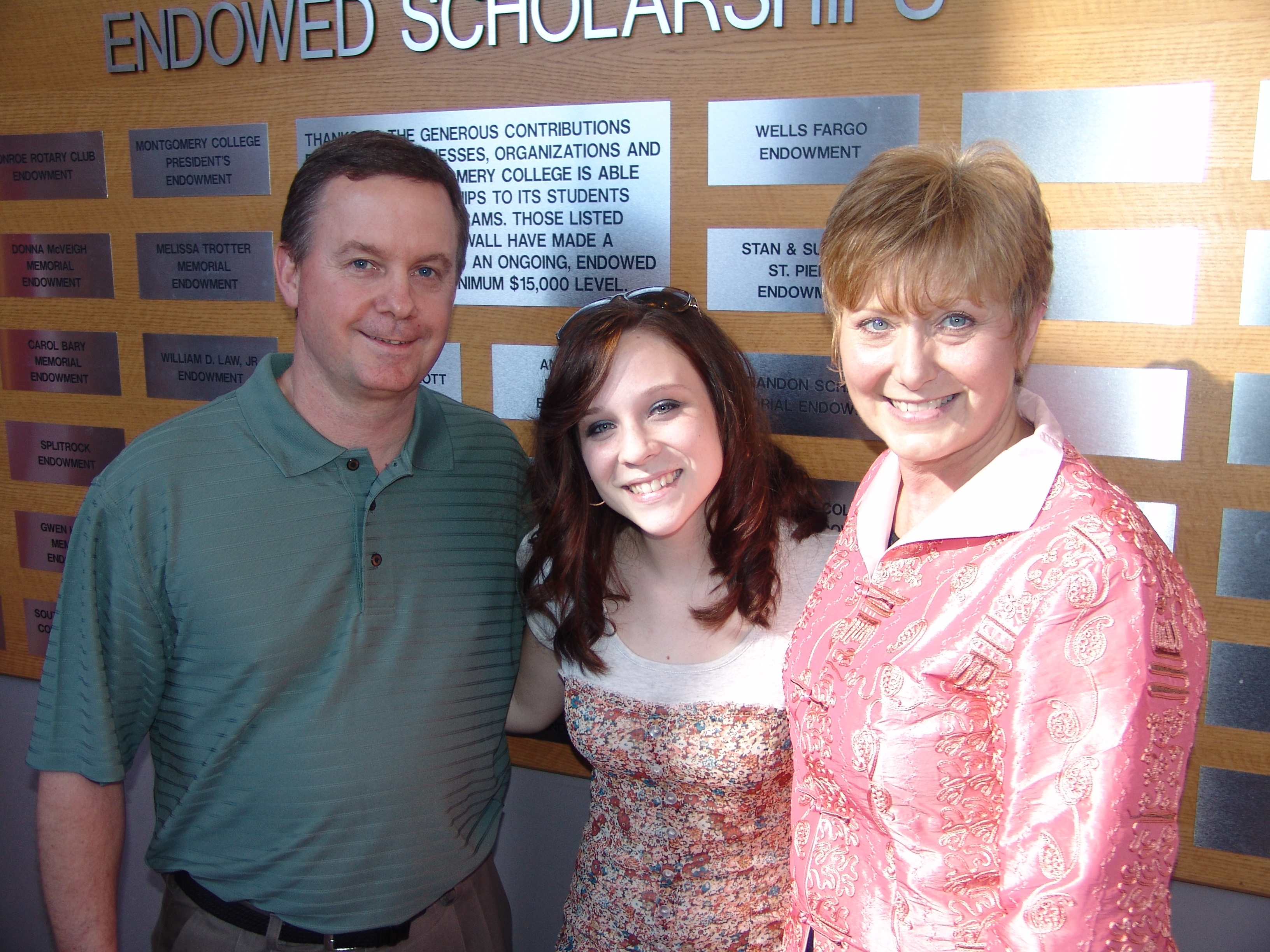 Laurel Johnston (center), is the first-ever recipient of the Kelsey Vogel �Shining Star� Memorial Endowment, which was created by Rick and Linda Vogel, Kelsey�s parents, following their daughter�s tragic death in 2007. The scholarship is awarded annually to a theatre arts major at Lone Star College-Montgomery.
