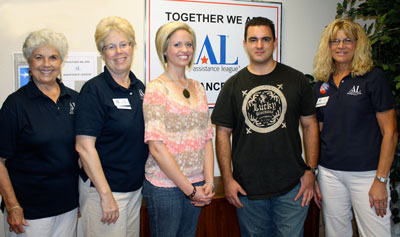 Several students from Lone Star College-Montgomery have returned to college this semester thanks to a scholarship from Assistance League of Montgomery County. Pictured from left to right are Doris Denio and Jane Gehring, volunteers with Assistance League, Allyson Lile and Justin Guy, scholarship recipients and students at LSC-Montgomery, and Janita Love, a volunteer with Assistance League.