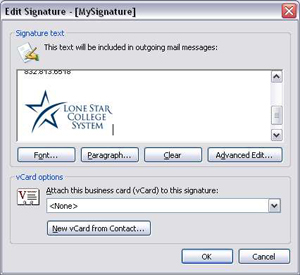 Step 5 of e-mail signature setup