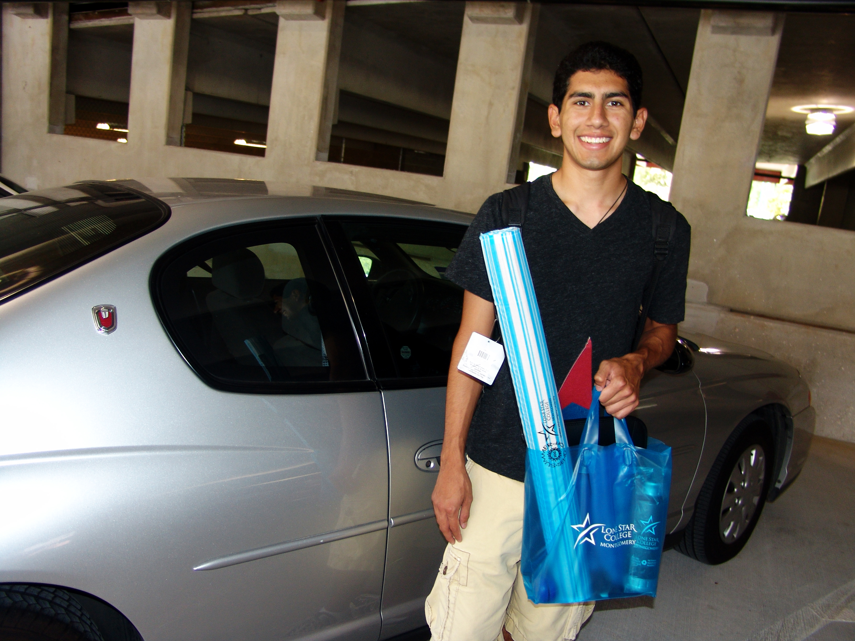 Daniel Gonzales, a student at Lone Star College-Montgomery, was the first to park in the college�s new 1,000-space, five-level parking garage, which opened on the first day of the fall semester. More than 12,500 students are enrolled at LSC-Montgomery this fall.